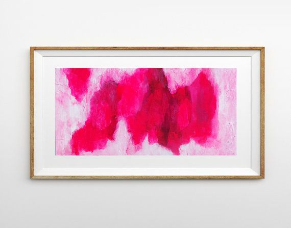 Abstract Painting, Neon Pink Canvas Art, Original Wall Art, Textured, Fluoro, Bright Lunar Landscape, Australian, Elizabeth Ellenor