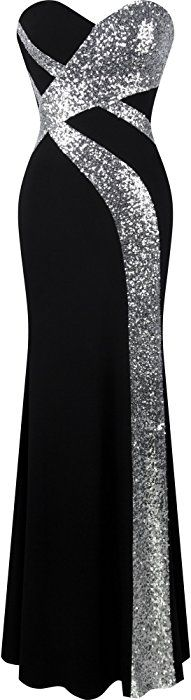 Angel-fashions Women's Strapless Sweetheart Criss-Cross Classic Black White Evening Dress Small: Amazon.co.uk: Clothing