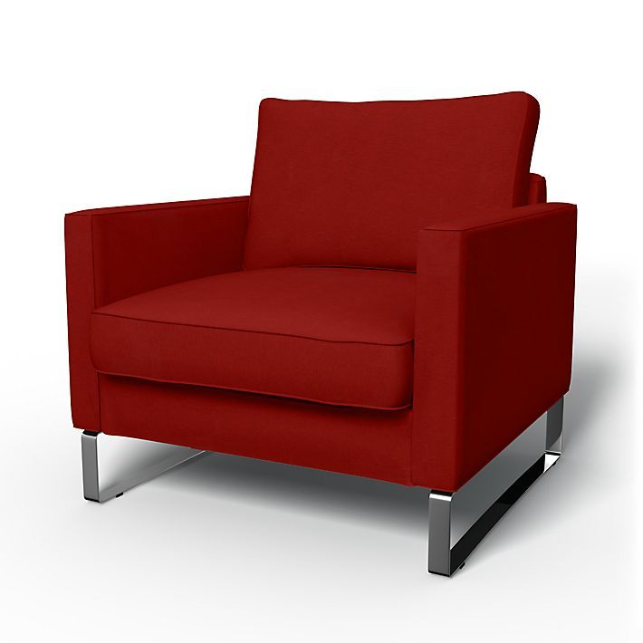 Mellby, Armchair Covers, Armchair, Regular Fit using the fabric Chenille Cinnabar Red