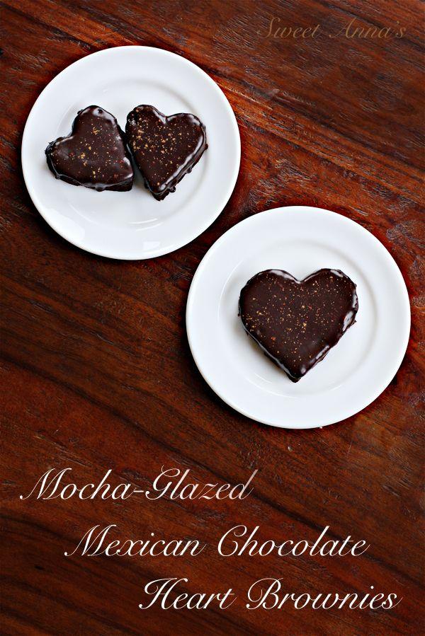 Mocha Glazed Mexican Chocolate Heart Brownies   Sweet Anna's