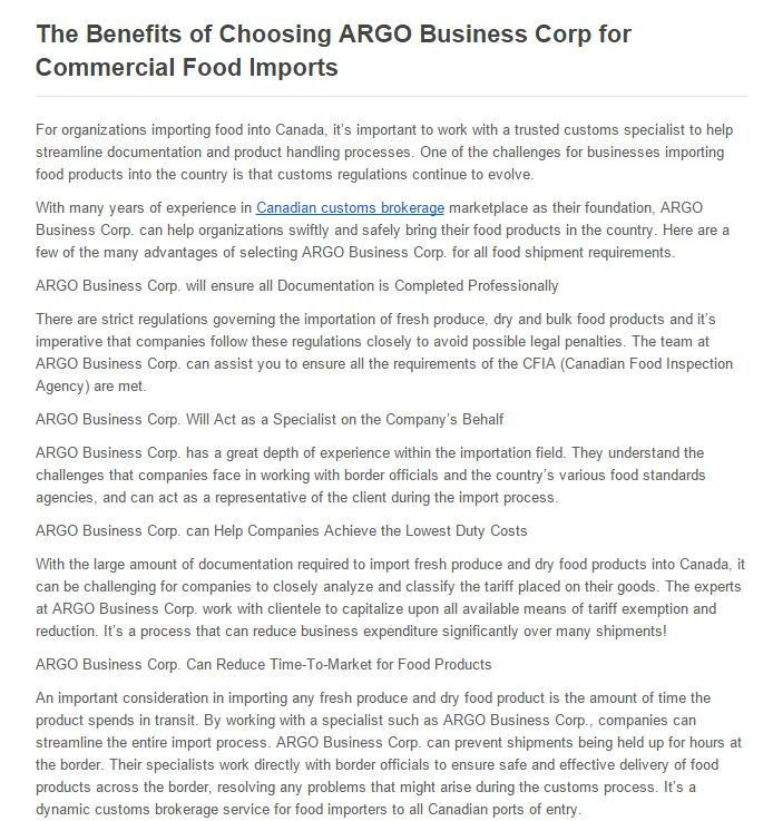 ARGO Business Corp. can help organizations swiftly and safely bring their food products in the country.