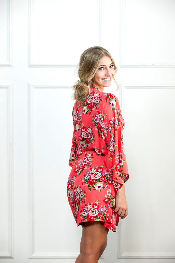 Coral Floral Robe, Handmade Bridesmaid Floral Robe, Delivery Gown, bridesmaids gift, wedding party