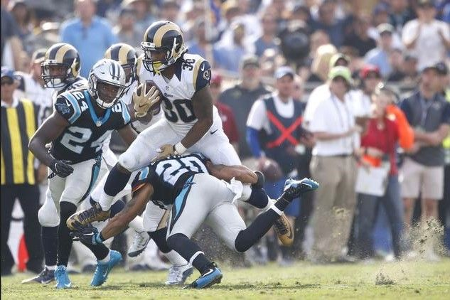 Panthers vs. Rams:  13-10, Panthers  -   Todd Gurley  -   Rams running back Todd Gurley is taken down after a long run during the second quarter.