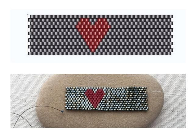 Pattern and instructions to make a peyote stitch beaded ring with a heart design.: Peyote Beaded Heart Ring Pattern                                                                                                                                                                                 More