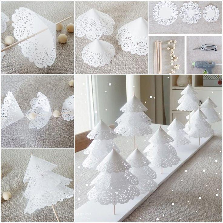 Papel Doily Árvores de Natal