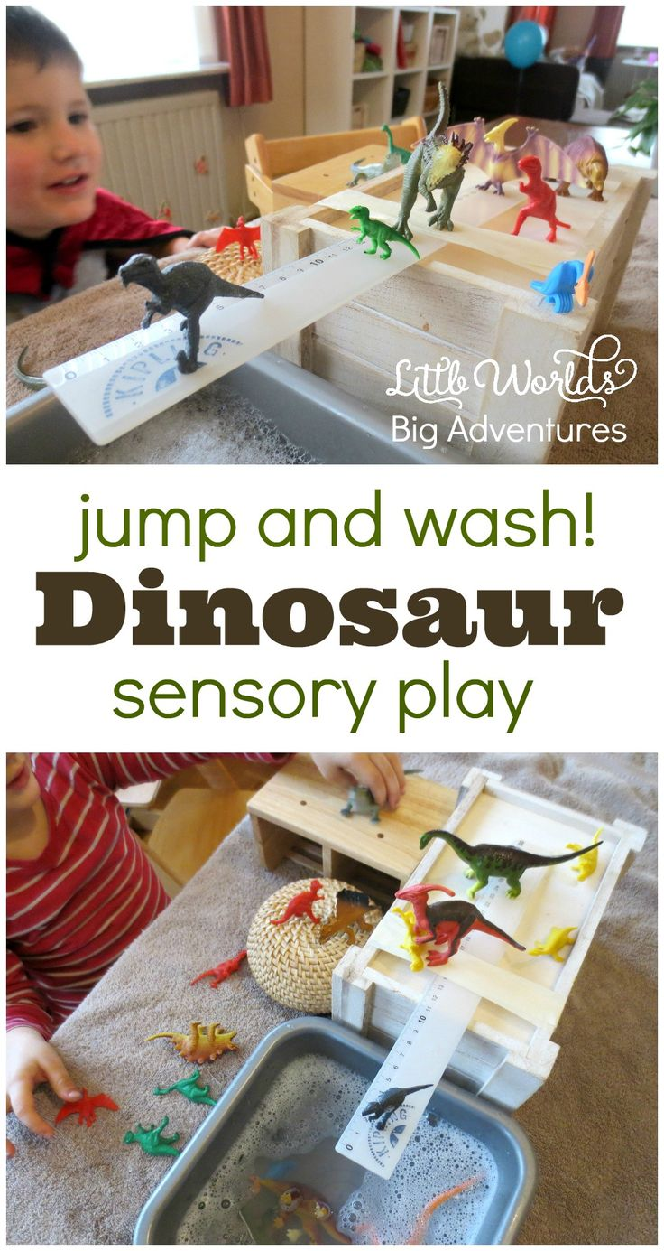 Jump & Wash! A simple dinosaur sensory play activity for toddlers and preschoolers. | Little Worlds Big Adventures