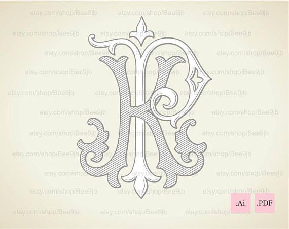 Wedding logo KP PK Monogram Vintage Wedding Clip Art