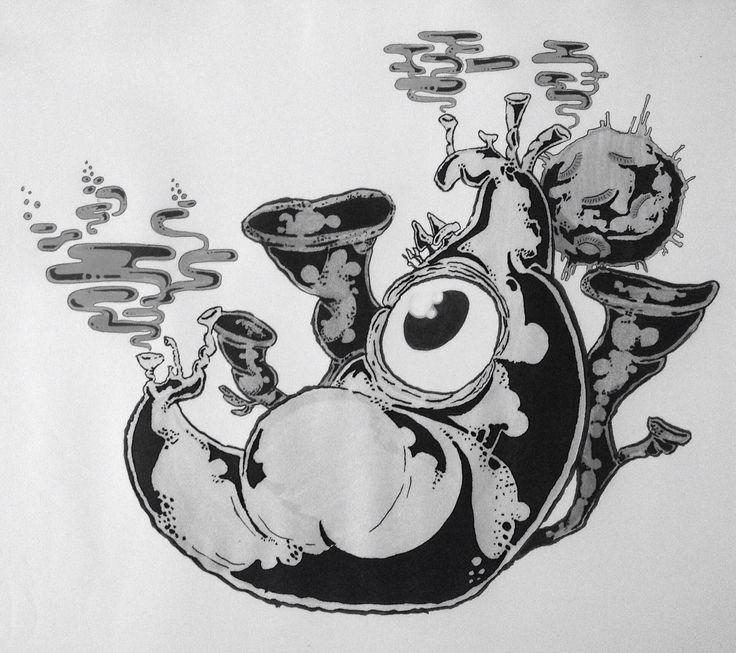 #monster #street #art #streetart #sticker #banana #smoke #sponge #tusch #viking #creas #black #white #future #drawing #illustration #marker