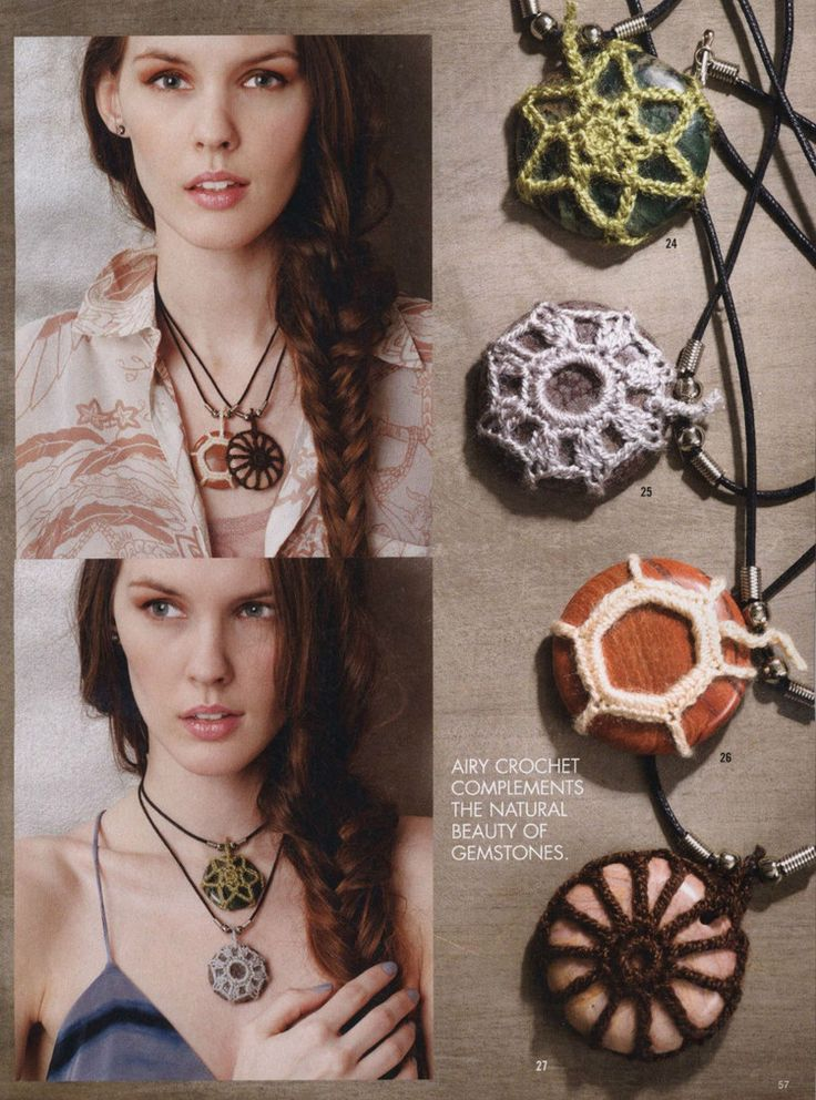Crochet Stone pendants. Cool idea