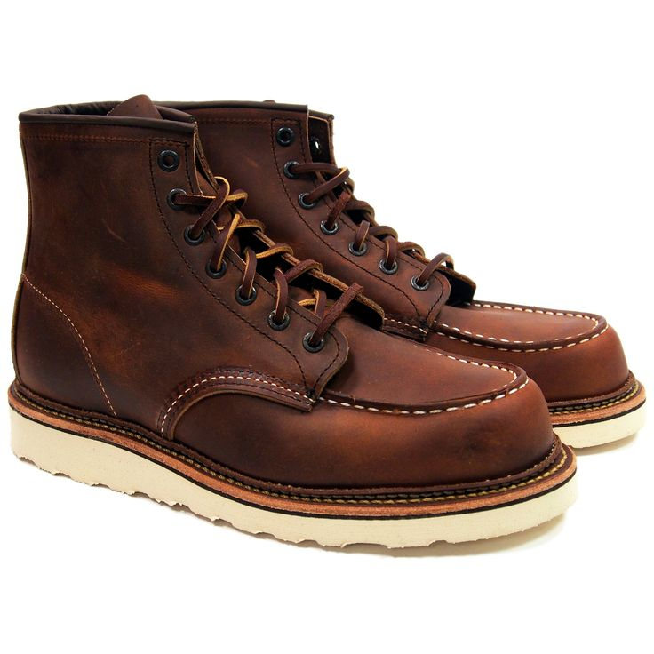 STYLE NO. 1907 : CLASSIC MOC Modeled after Red Wing's original work boot style, the 1907 is a 6-Inch Moc Toe featuring Copper Rough & Tough leather, white Traction Tred rubber outsole, Norwegian-like