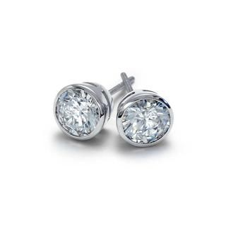 Bezel Cut Diamond Stud Earrings in 9K White Gold (0.45ct tw)