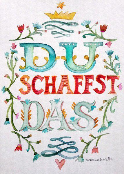 Grußkarte+-+Du+schaffst+das+-+Motivationssprüche+von+Maren+Schmidt+auf+DaWanda.com