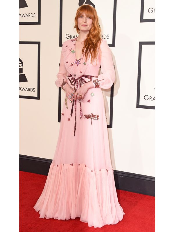 Florence Welch in Gucci at the 2016 Grammys