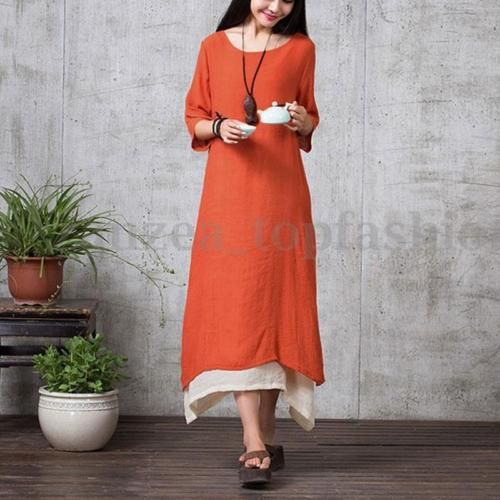 Boho-Zanzea-Ladies-1-2-Sleeve-Batwing-A-Line-Loose-Casual-Long-Maxi-Shirt-Dress