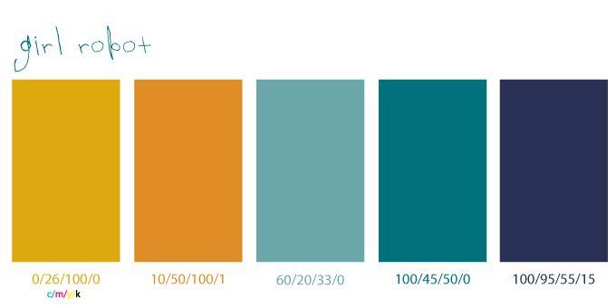 Palette de couleurs orange + vert-de-gris + bleu pétrole
