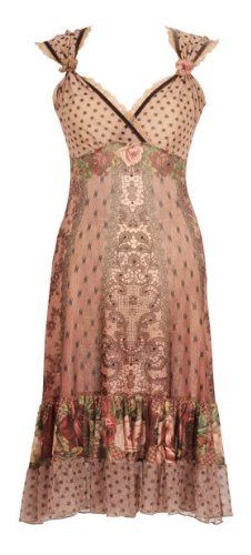 Eye-Catching Special Occasion Tea Length Beige Dress Created by Michal Negrin with Stars, Polka Dot and Victorian Roses Patterns, Swarovski Crystals, Lace Trim and Crinkled Hemline