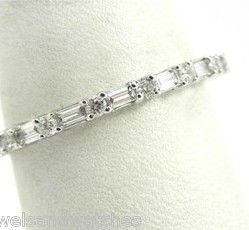 Ladies 18k White Gold .75 Ct. Round & Baguette Diamond Eternity Wedding Band | Bright Jewelers