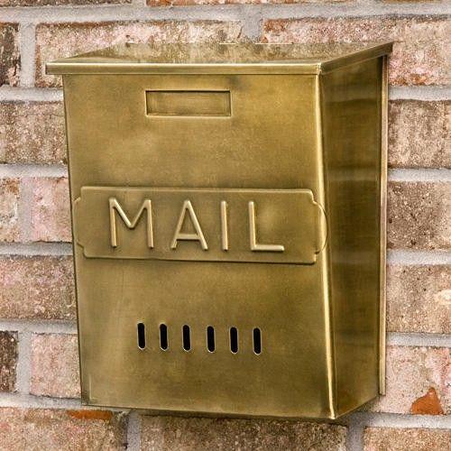 """10 1/4L x 11 5/8W x 5 3/8 D. Vertical """"MAIL"""" Wall-Mount Brass Mailbox - Antique Brass"""