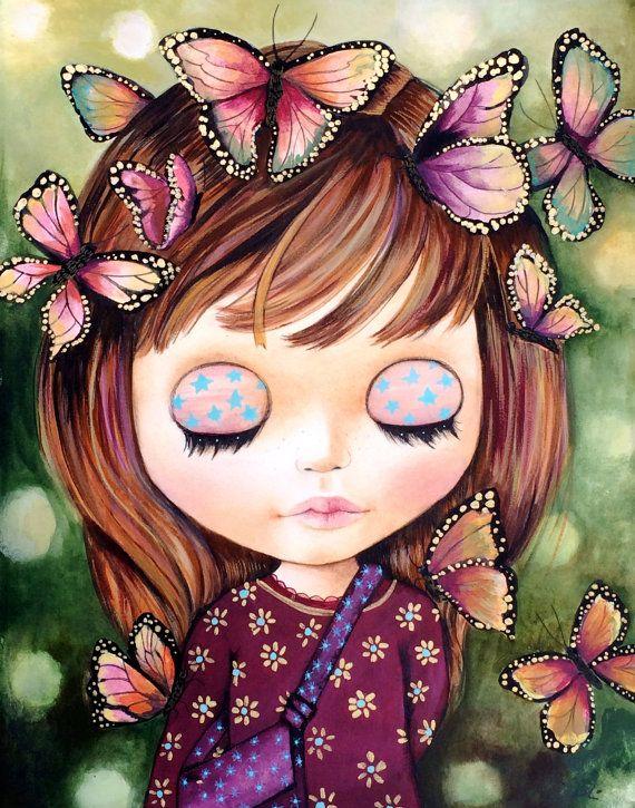 Muñeca Blythe pintura Iris el arte soñador impresión