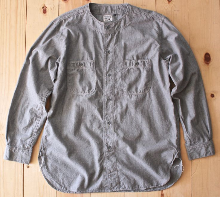 OrSlow Vintage No Collar Chambray Shirt in Grey