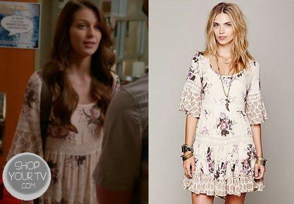 Marley Rose (Melissa Benoist) wears this floral print, bell sleeve dress in this week's episode of Glee.