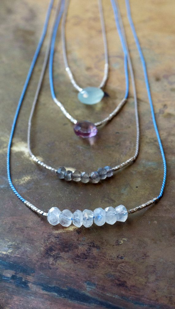 Multi Strand necklaces | Minimalist gemstone necklace set of two A super dainty and delicate gemstone and sterling silver necklace set of two.  You choose two of the necklaces shown from the four choices shown top to bottom: Seafoam Chalcedony  Pink mystic quartz  Grey Labradorite  White moonstone   Just let me know which ones you would like in the order notes or message me with your choice. All necklaces are strung on grey or periwinkle blue natural 100% silk as shown and the silver is…