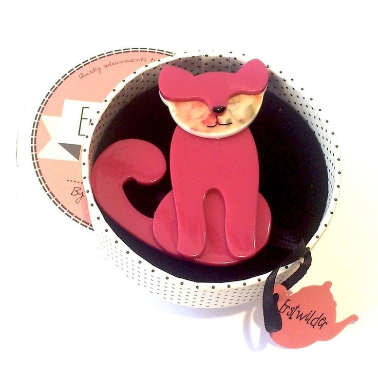 'Feed me Francoise' Pink Cat Brooch by Erstwilder