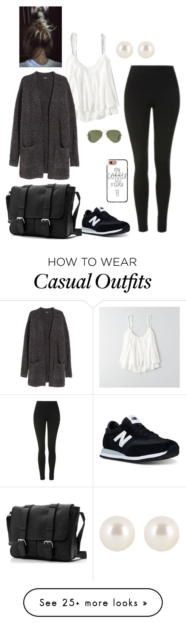 """Casual"" by nikke9doors on Polyvore featuring Topshop, New Balance, American Eagle Outfitters, Casetify, H&M, Ray-Ban and Henri Bendel"