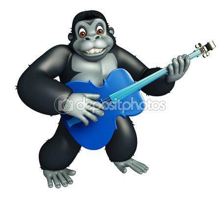 Lindo personaje de dibujos animados de gorila con Guitar — Imagen de stock…