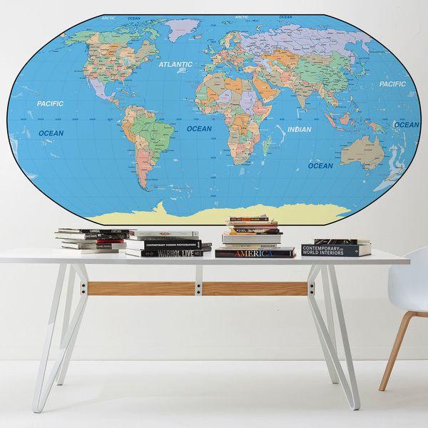 Adesivi Murali Mappa del mondo per decorare una parete #mappa #politica #adesivi #murali #vinile #deco #decorazione #muro #StickersMurali
