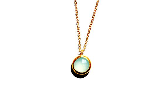 Blue Chalcedony necklace 14 Kt Gold Chain by AshaJewellery on Etsy