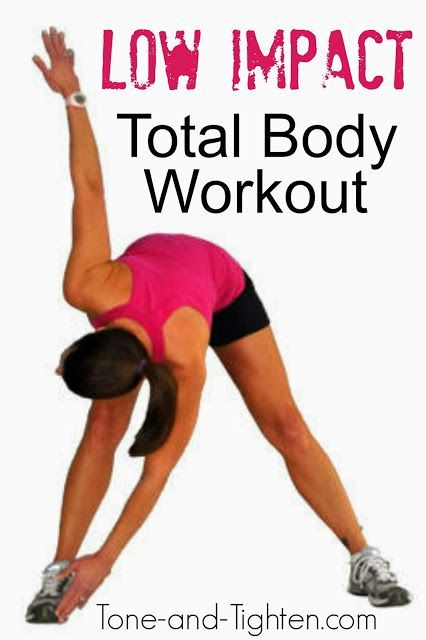 Low Impact Total Body Workout at Tone-and-Tighten.com. Just because it's low impact doesn't mean it's easy! #workout #fitness #athomeworkout