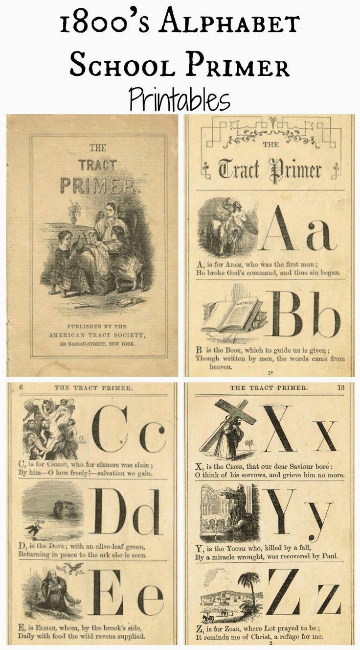 Free Printable Antique Alphabet School Book Primer Pages via Knick of Time @ knickoftimeinteriors.blogspot.com