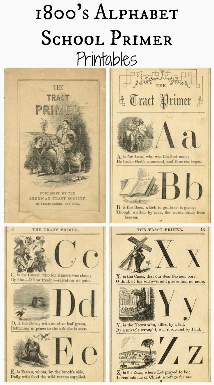 Free Printable Antique Alphabet School Book Primer Pages - KnickofTime.net