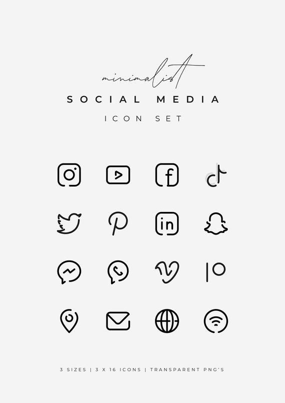 Black Social Media Icons Minimalist Social Media Logos Simple Line Icons Instagram Youtube Facebook Tiktok Patreon Etc By Senti In 2021 Social Media Icons Snapchat Logo Black Social Media Icons
