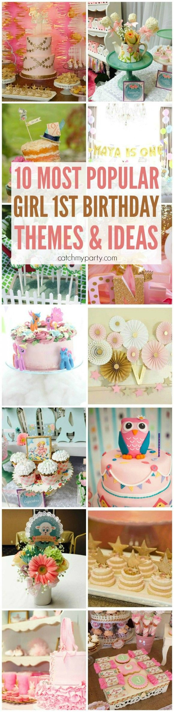 10 Most Popular Girl 1st Birthday Themes and ideas, including butterfly, owl, princess, pink, ballerina, and other themes! | CatchMyParty.com