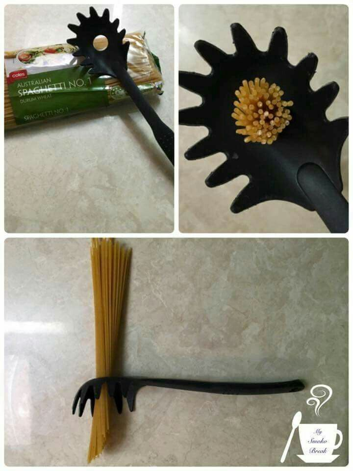 Who knew????? ........  That hole in your spaghetti server equals 1 serving! Now i can cook pasta for 4 & not the whole neighbourhood.  . .You're welcome