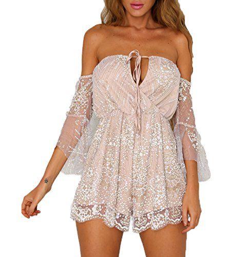 Sommer Damen Kleid Chic Strass Blitzpulver Jumpsuit ...
