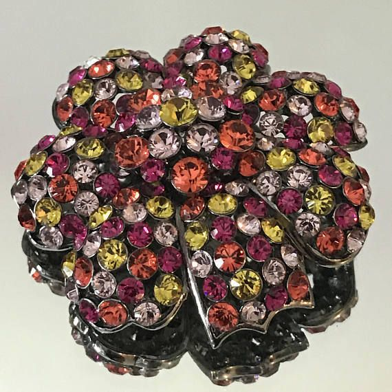 Signed Joan Rivers Gardenia Flower Brooch Multi-Color Swarovski Crystals #JoanRivers