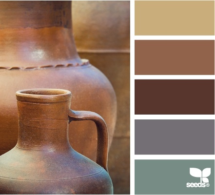 Possible den colors. Walls are already painted tan and one of the couches are that gray-blue color.