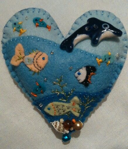 Underwater fishy brooch, with shell and bead embellishments, handmade for Cora's 11th birthday.