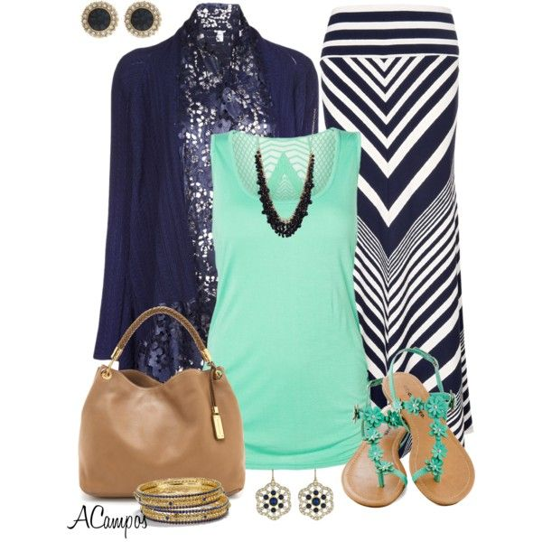 Teal tank top, navy blue chevron maxi skirt, navy blue cardigan, and teal gladiator sandals.