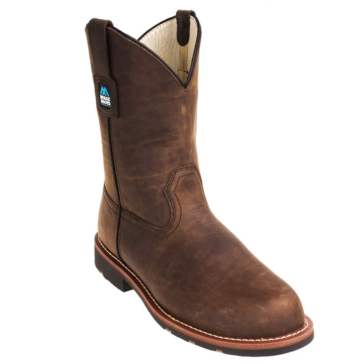 McRae Boots Men's MR85384 Steel Toe EH 11-Inch Brown Pull-On Work Boots