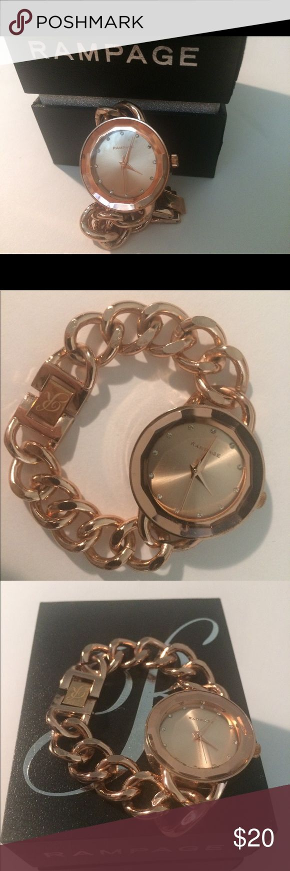 Rampage rose gold watch w crystal accents This is a gorgeous, brand new Rampage watch in a beautiful rose gold tone with crystal accents and dainty chainlike bracelet. I bought it for myself thinking I'd try to become the kind of person who wears a watch but you can't teach an old dog new tricks, you know? Though it makes me sad to part with this beauty, I'm just not a watch-wearing kind of gal. Never used, comes in original box. Rampage Accessories Watches
