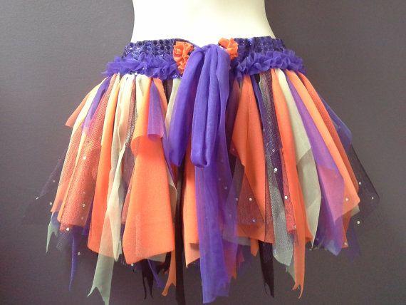 WOMANS FESTIVAL TUTU skirt, rave dance belt, Halloween , shabby fairy tutu, orange yellow purple soft tulle, teen 31 inches wide, long ties
