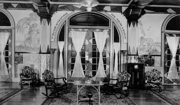 The lobby of the Crescent Hotel during its time as the Baker Hospital.
