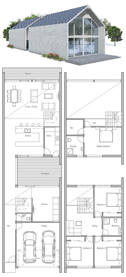 Very narrow house small private courtyard floor plan for Modern courtyard house designs
