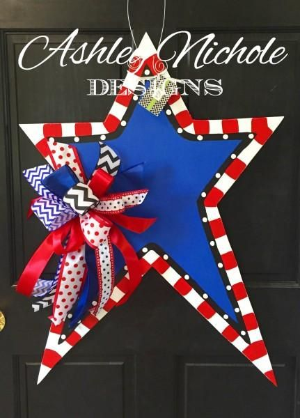 """This cute and whimsical star is a great way to show your patriotism for July 4 or Memorial Day. All of our wooden door decorations are proudly hand painted in the USA!          36"""" tall x 25"""" wide"""