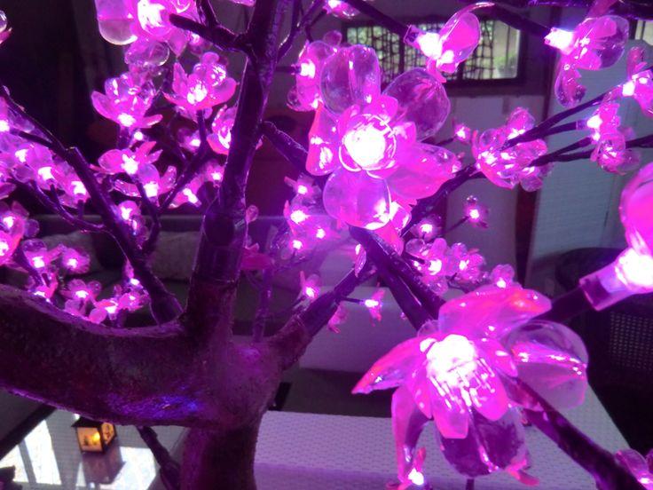 albero a led altezza mt 1,20 uso esterno  256 leds a forma di fiore in pvc trasparente colore rosa