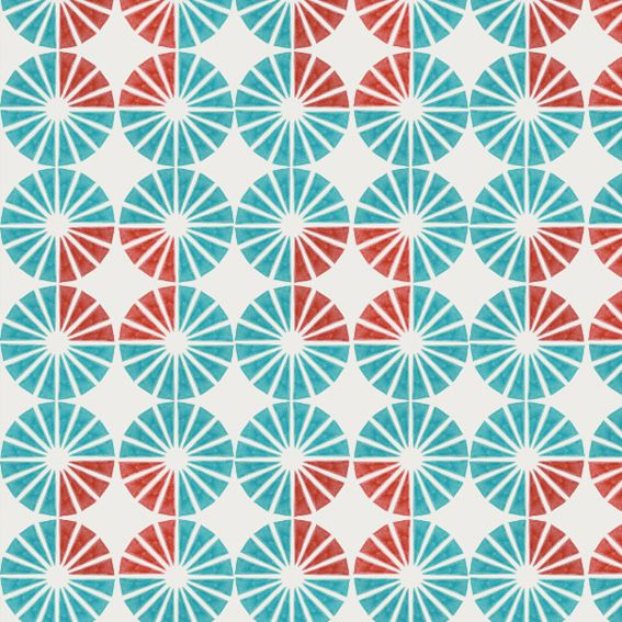 Pattern with circles made of small triangles in blue and red by Marina Molares